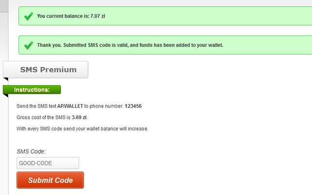 SMS form - Submitted valid code