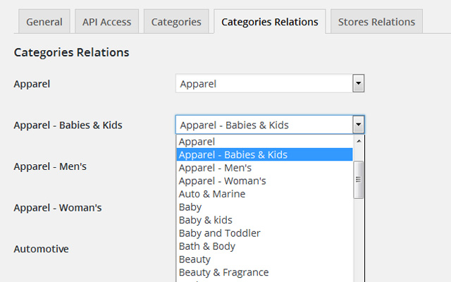 Categories Relations Settings