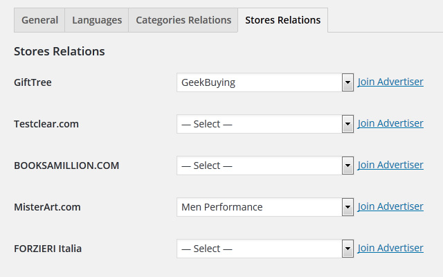 Stores Relations Settings