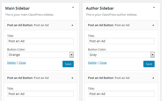 Adding button widgets in admin area