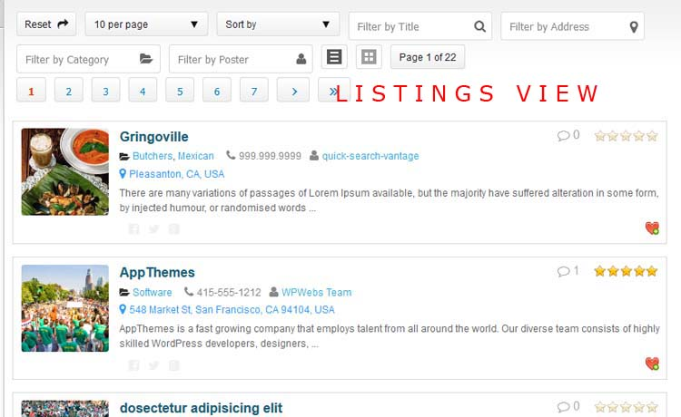 Listings List View