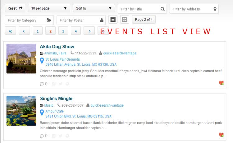 Events List View with image