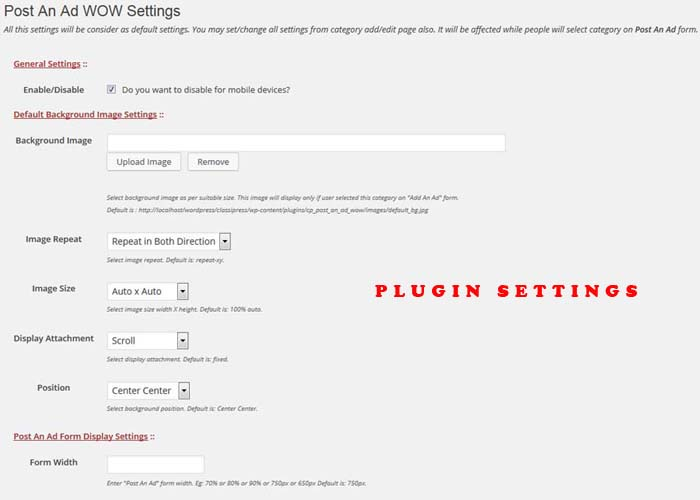 Post An Ad WOW - Plugin Settings