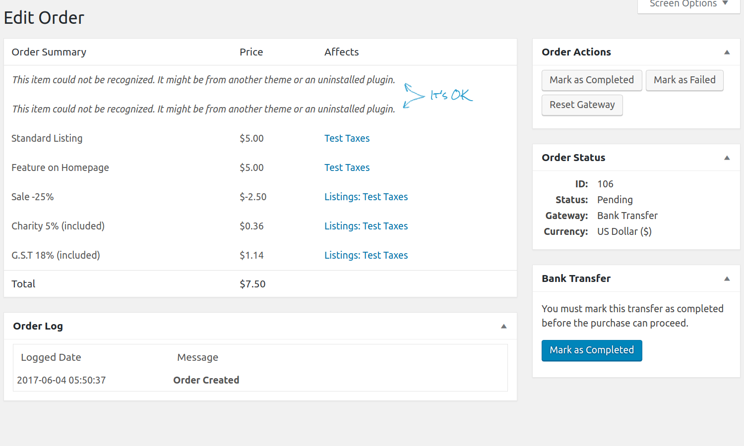 Single Order page
