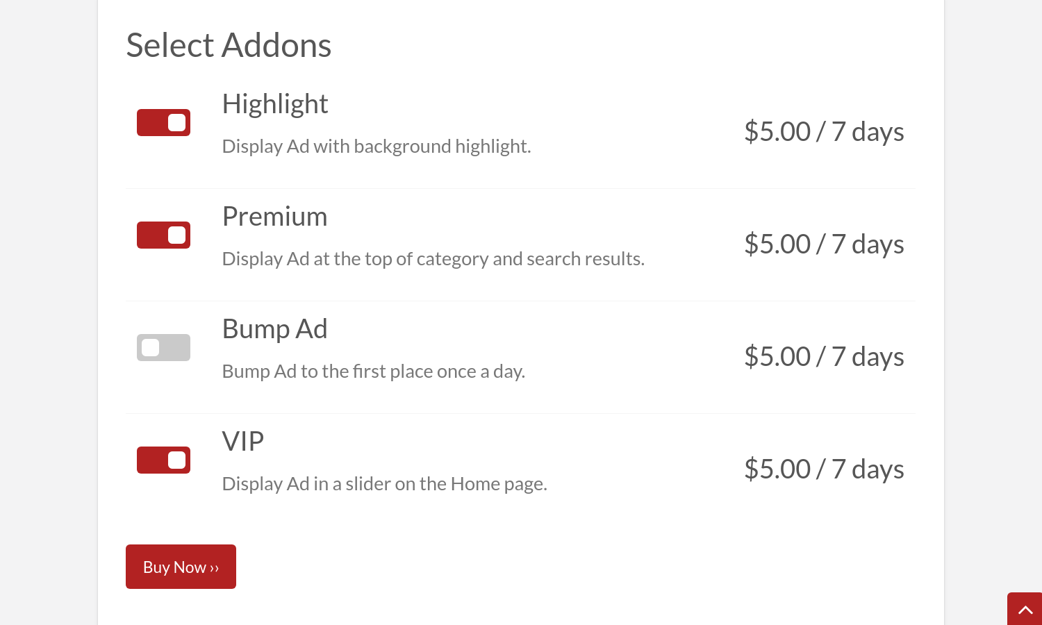 #4 Set addons via the Upgrade listing form. Purchase/prolong single add-ons for existing…