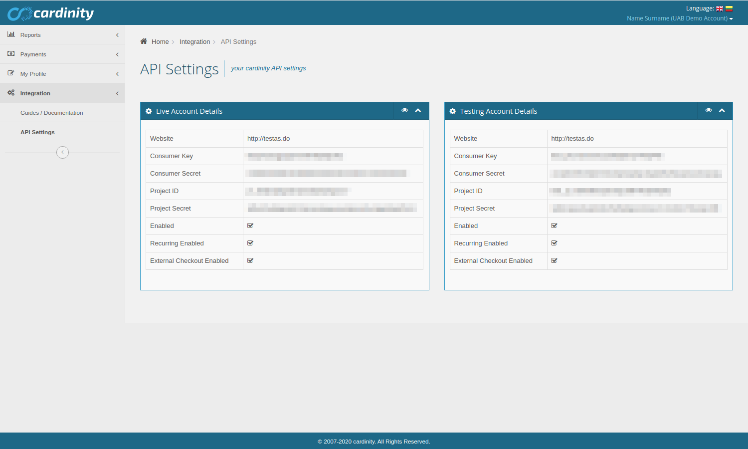 Cardinity integration settings